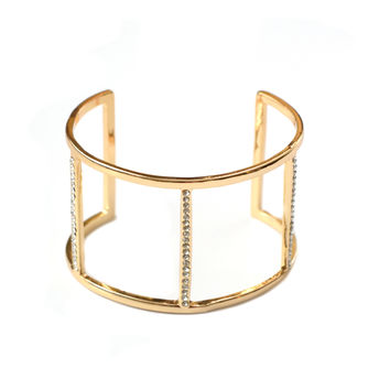 Three Bar Cage Cuff Bracelet with Rhinestones