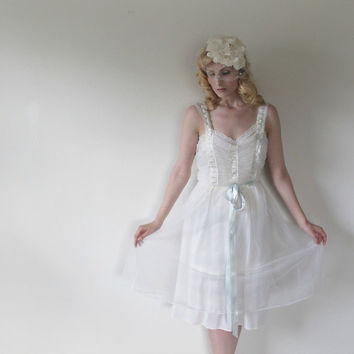 Vintage 50's Lingerie - Pin-up negligee, Sheer, Ribbons, Teddy,  Wedding, Nightie.