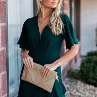 Frolic In France Flounce Hem Dress : Emerald Green