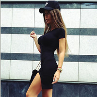 Black Side Slit Short Sleeve Bodycon Mini Dress