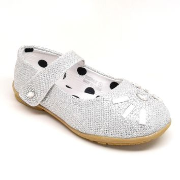 Girl's Silver Color Flat with Hook and Loop Fastener