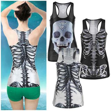PEAPUNT 1pcs 3D Summer Sexy Womens vintage Printed Skeleton Skull Tank Tops Gothic Punk Clubwear Punk T-Shirt