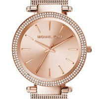 Women's Michael Kors 'Darci' Crystal Bezel Mesh Strap Watch, 39mm - Rose Gold