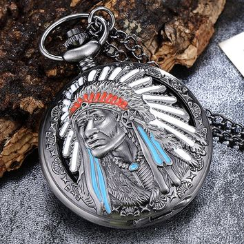Vintage Unique Carved Hollow Indian People Quartz Pocket Watch Necklace Fob Chain Clock For Men Women Steampunk Gift