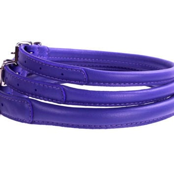 Rolled Round Leather Purple Dog Collar Soft Padded 7 sizes Miniature to Large breeds