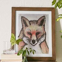 4040 Locust Sketched Foxy Framed Art Print- Brown One