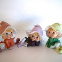 Vintage Ceramic Elves Pixies Gnomes Set Of 3 Made By Homco 1970s 4 X 2 Inches