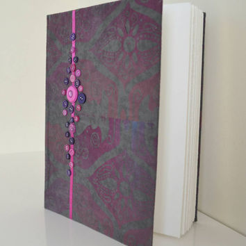Handmade gift unique fabric printed Purple Grey journal with ribbon and button detail present eid artist watercolour book poetry sketch