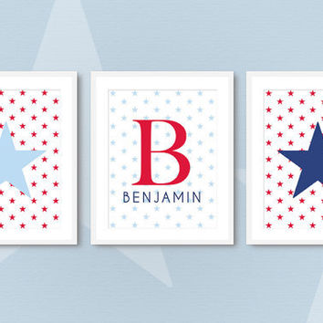 Red White and Blue Nursery - Baby Boy Monogram Art Prints - Celestial Nursery Stars Set of 3 - 8x10Patriotic / Military Kids Room Wall Art