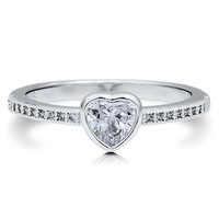 Sterling Silver 925 Heart Cut Clear Cubic Zirconia CZ Solitaire Ring #r521