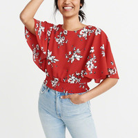 Womens Smocked Flutter Sleeve Top | Womens Tops | Abercrombie.com