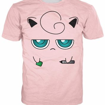 Jigglypuff Face T-Shirt Sexy fairy-type  Characters t shirt Casual tee Summer style fashion clothing tops for women menKawaii Pokemon go  AT_89_9