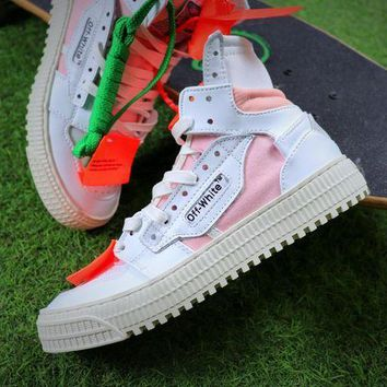PEAPNW6 Virgil Abloh Design OFF-WHITE Low 3.0 Hi-Top White / Pink Sneakers