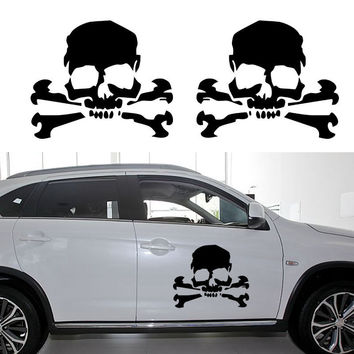 2pcs Skull Cross Bones Pirate Car Sticker Truck door Vinyl Decal Removable High Quality Vinyl Wall Stickers For Tile Glass Mural