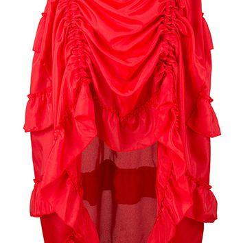 Atomic Red Victorian Gothic Ruffle Skirt