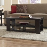 Hollow Core Contemporary Coffee Table, Black Forest Finish