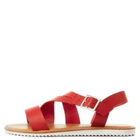 Red Asymmetrical Strappy Flat Sandals by Charlotte Russe