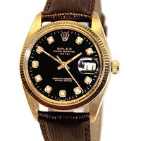 Pre-Owned Mens Rolex Diamond Oyster Perpetual - Black Dial - 14K Yellow Gold