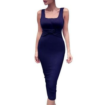 Women's Fashion Dress Sexy Slim Sleeveless Bodycon Party Cocktail Club Mid Dresses Cotton Casual Vestidos
