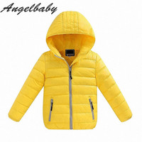 children winter coat baby girls down warm long sleeve hoodies jacket boys solid casual outwear kids clothes ws221