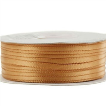Double Face Satin Ribbon, 1/8-inch, 100-yard, Antique Gold