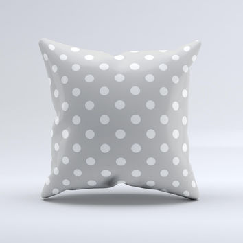 Light Gray & White Polka Dot  Ink-Fuzed Decorative Throw Pillow