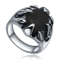 Stainless Steel Dragon Claw W. Black Onyx Ring