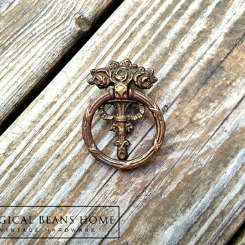 Victorian Era Home Improvement Victorian Dresser Hardware KBC Roses & Ribbon Ring Pull Vintage Antiqued Brass Decorative Drawer Pull Handles