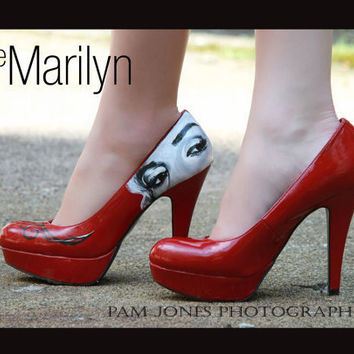 Size 8 Marilyn Monroe Hand Painted Heels  Open by rewersdesigns