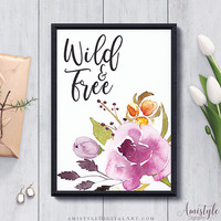 Boho Printable Wall Decor, Wild and Free, Marsala, Art Print, Watercolour, Digital Print, Motivational, Room Decor, Instant Download
