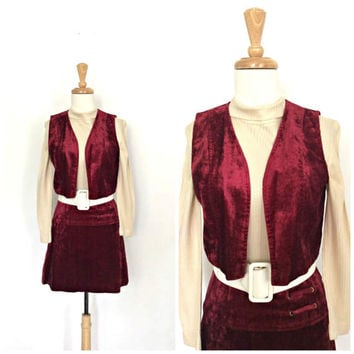 Vintage 60s Mod Dress - velour dress - burgundy - hippie dress - mini dress - babydoll - Small