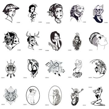 CCSEX1 6X6cm Little Vintage Old School Style Kitty Cat Head Women Skull Mask Temporary Tattoo Sticker Body Art Fake Taty