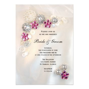 Pearl and Pink Diamond Buttons Wedding Invitation