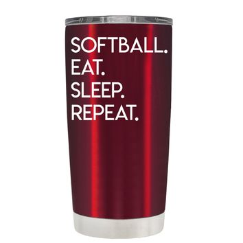 TREK Eat Sleep Softball Repeat on Translucent Red 20 oz Tumbler Cup