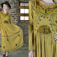 Vintage Dark Velvet Mustard Rustic Embroidered Indian Cotton Dress