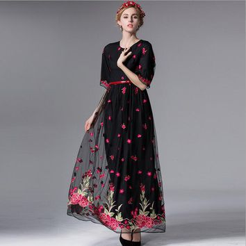 Runway Plus Size Embroidery Maxi Dress Evening Party Dashiki Dress Ukraine Womens Sexy Dresses Party Night Club Dress