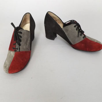 Size 7.5 Vintage Hush Puppies Colorblock 1970's Suede Leather Lace Up Oxford Spectator Shoes Annie Hall Mules Swing Shoes Boho Preppy Pumps