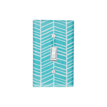 Herringbone Light Switch Plate Cover / Aqua Blue and White Nursery Decor / Chevron /  Single Toggle