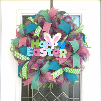 Easter Wreath - Happy Easter Wreath - Easter Deco Mesh Wreath - Spring Wreath - Easter Decoration - Easter Decor - Spring Decoration