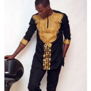African men's wear, African men's outfit, African Clothing, Dashiki, African shirt. Top and pant.