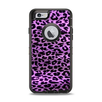 The Vivid Purple Leopard Print Apple iPhone 6 Otterbox Defender Case Skin Set