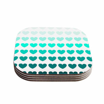 "NL Designs ""Teal Hearts"" Blue love Coasters (Set of 4)"