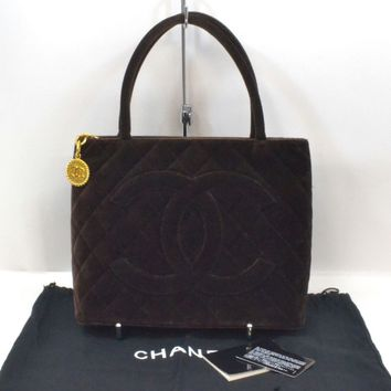 Authentic Chanel CC Quilted Velor Leather Medallion Tote Shoulder Bag Brown Gold