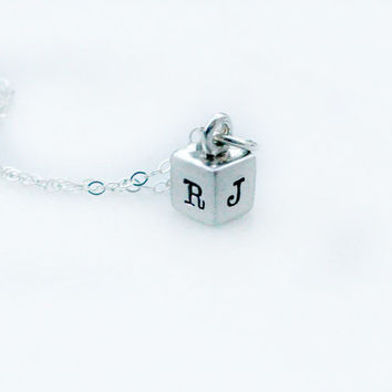 Personalized Jewelry - Hand Stamped Necklace - Sterling Silver Cube Necklace - Initial Necklace