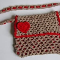 Shoulder Bag, Trendy Beige and Red, with Red Heart, Crochet. Available also in Green and Purple, with Flower Embellishment