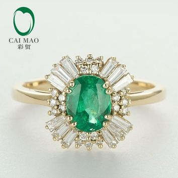 Caimao 14kt Yellow Gold Natural 1.21ct Emerald Round and Baguette Diamond Engagement Ring