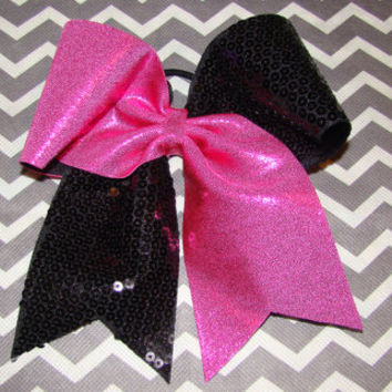 Hot Pink Mystic and Black Sequin Criss Cross Cheer Bow
