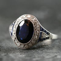 French Art Deco Sapphire & Diamond Engagement Ring by Ruby Gray's | Ruby Gray's