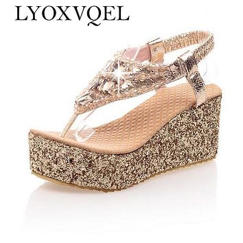 Women shoes High heels platform Sandals Rhinestone Summer sandals For Women Fashion Cool Gold Silver