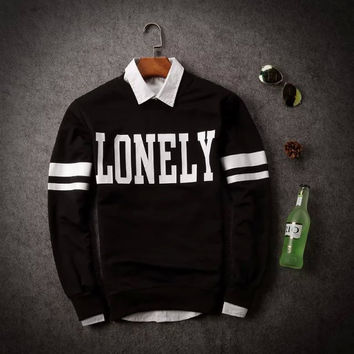 Men's Fashion Round-neck Men Alphabet Print Casual Autumn Hoodies Jacket [6541167555]